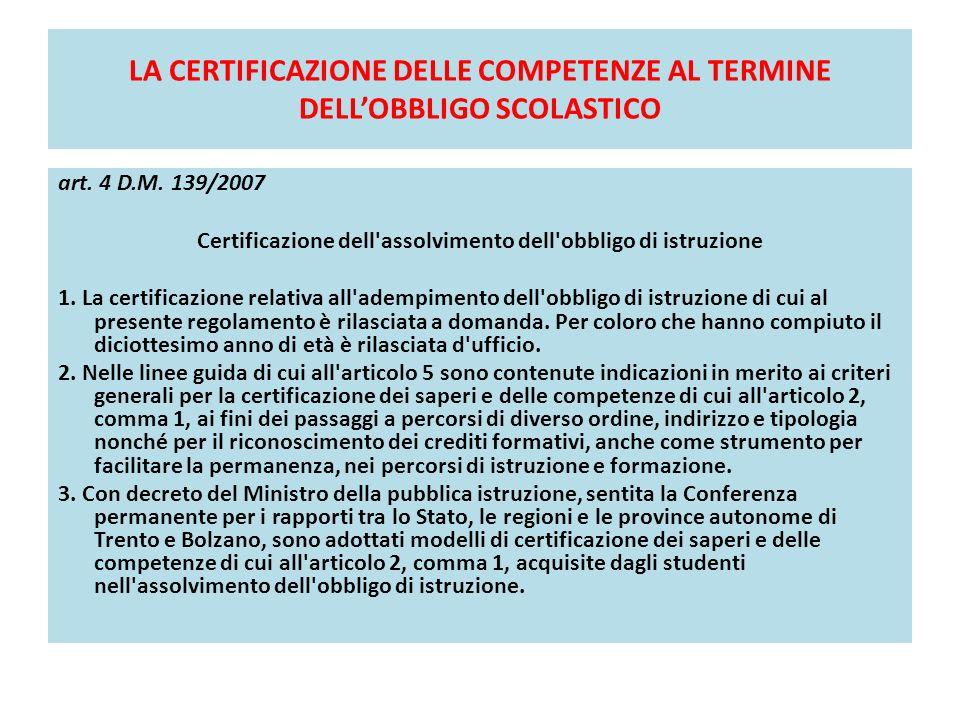 LA CERTIFICAZIONE DELLE COMPETENZE AL TERMINE DELLOBBLIGO SCOLASTICO art. 4 D.M. 139/2007 Certificazione dell'assolvimento dell'obbligo di istruzione