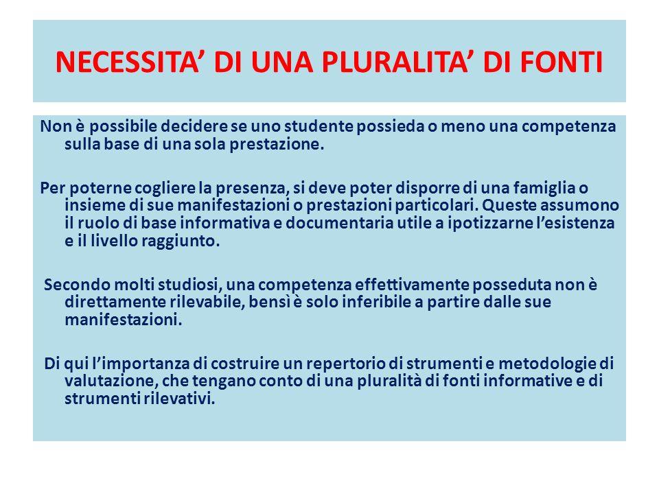 NECESSITA DI UNA PLURALITA DI FONTI Non è possibile decidere se uno studente possieda o meno una competenza sulla base di una sola prestazione.