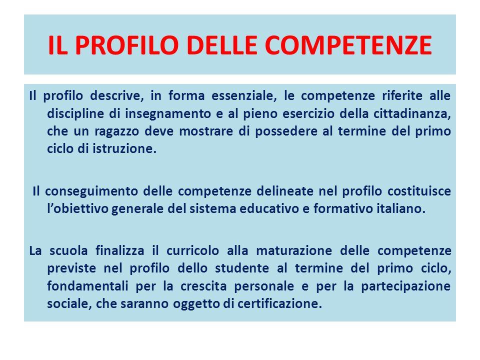 IL PROFILO DELLE COMPETENZE Il profilo descrive, in forma essenziale, le competenze riferite alle discipline di insegnamento e al pieno esercizio dell
