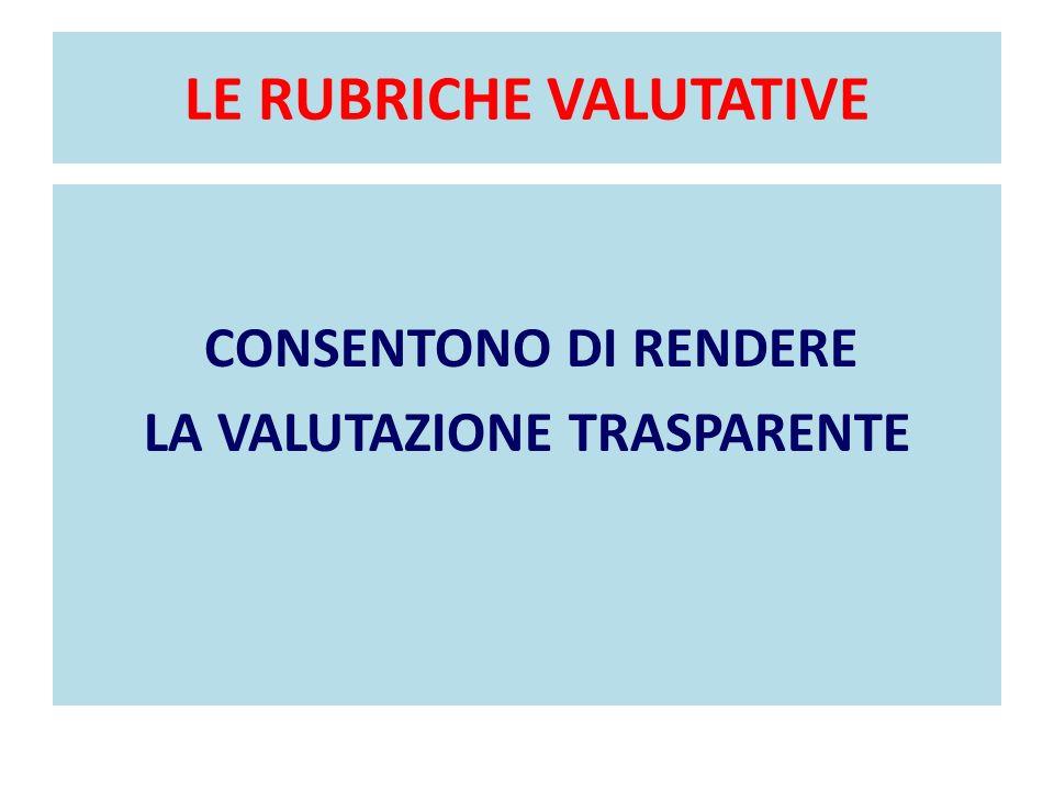 LE RUBRICHE VALUTATIVE CONSENTONO DI RENDERE LA VALUTAZIONE TRASPARENTE