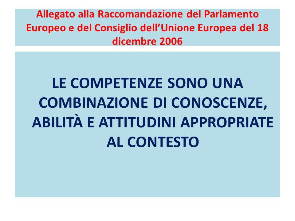 Allegato alla Raccomandazione del Parlamento Europeo e del Consiglio dellUnione Europea del 18 dicembre 2006 LE COMPETENZE SONO UNA COMBINAZIONE DI CONOSCENZE, ABILITÀ E ATTITUDINI APPROPRIATE AL CONTESTO