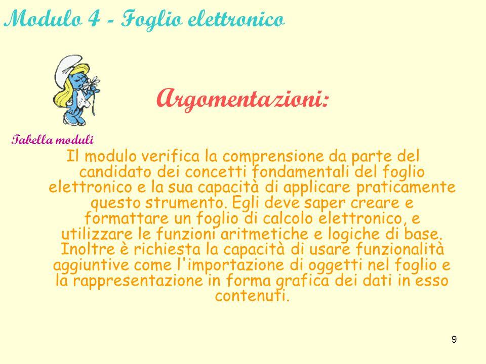8 Modulo 3 - Elaborazione testi Argomentazioni: Questo modulo verifica la competenza del candidato nell uso del personal computer come elaboratore di testi.