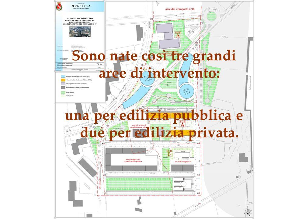 Sono nate così tre grandi aree di intervento: una per edilizia pubblica e due per edilizia privata.