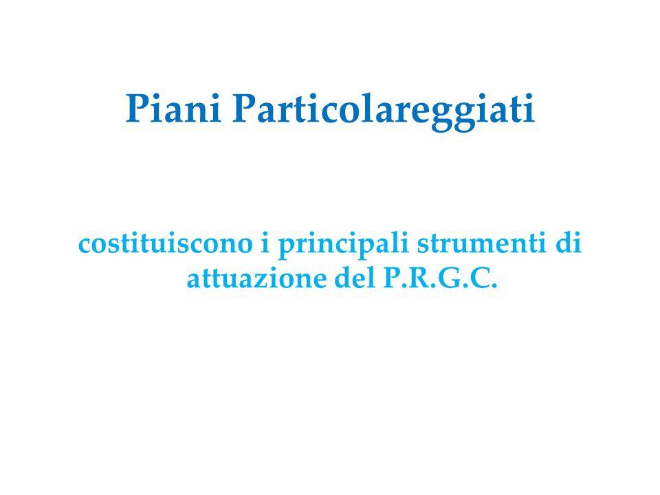 Piani Particolareggiati costituiscono i principali strumenti di attuazione del P.R.G.C.