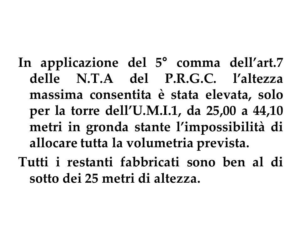 In applicazione del 5° comma dellart.7 delle N.T.A del P.R.G.C.