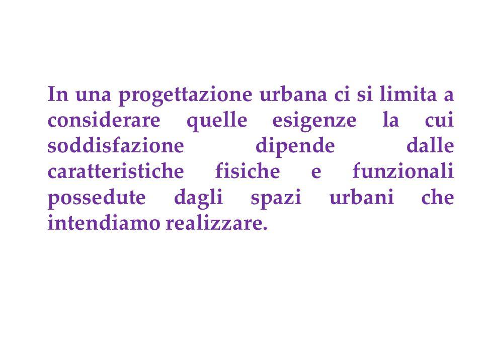 In una progettazione urbana ci si limita a considerare quelle esigenze la cui soddisfazione dipende dalle caratteristiche fisiche e funzionali possedute dagli spazi urbani che intendiamo realizzare.