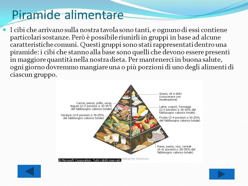 Piramide alimentare I cibi che arrivano sulla nostra tavola sono tanti, e ognuno di essi contiene particolari sostanze. Però è possibile riunirli in g