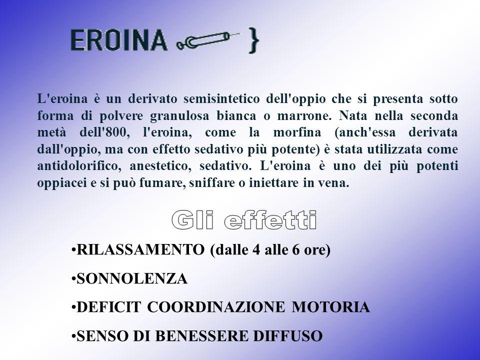 L'eroina è un derivato semisintetico dell'oppio che si presenta sotto forma di polvere granulosa bianca o marrone. Nata nella seconda metà dell'800, l