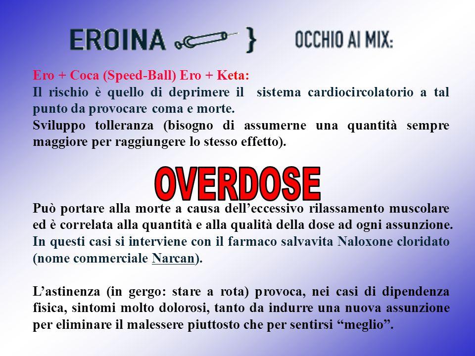 Ero + Coca (Speed-Ball) Ero + Keta: Il rischio è quello di deprimere il sistema cardiocircolatorio a tal punto da provocare coma e morte. Sviluppo tol
