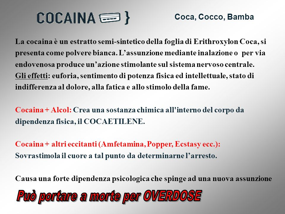 Coca, Cocco, Bamba La cocaina è un estratto semi-sintetico della foglia di Erithroxylon Coca, si presenta come polvere bianca. Lassunzione mediante in