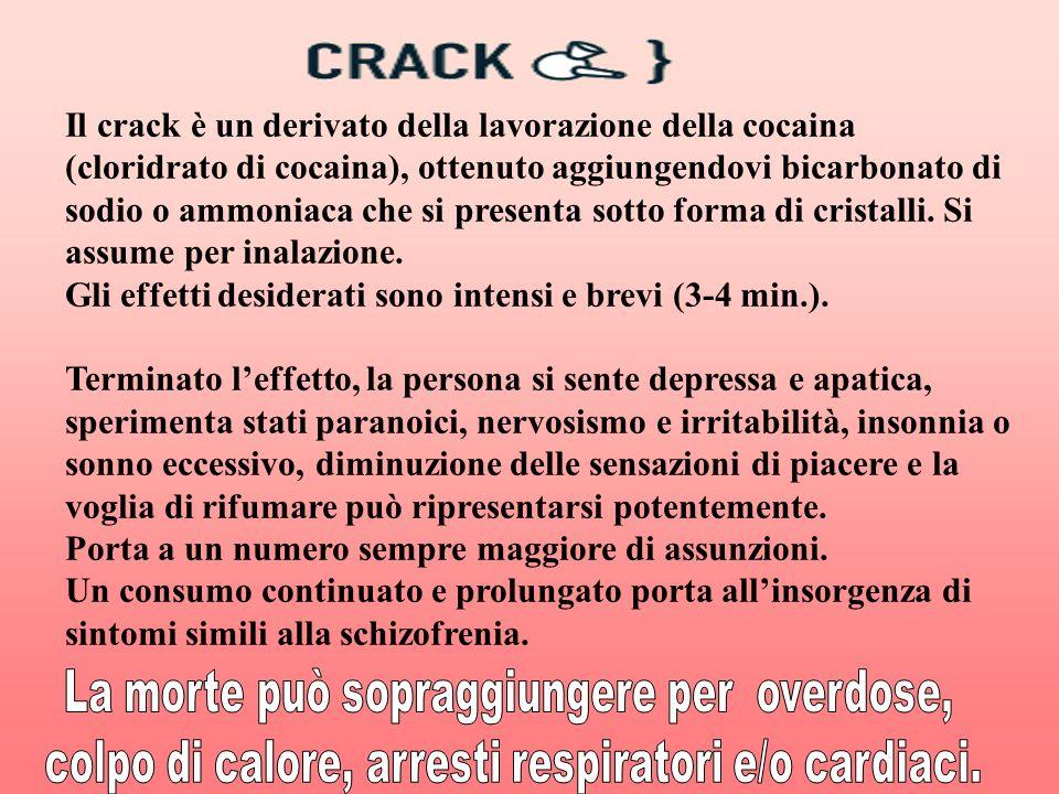 Il crack è un derivato della lavorazione della cocaina (cloridrato di cocaina), ottenuto aggiungendovi bicarbonato di sodio o ammoniaca che si present