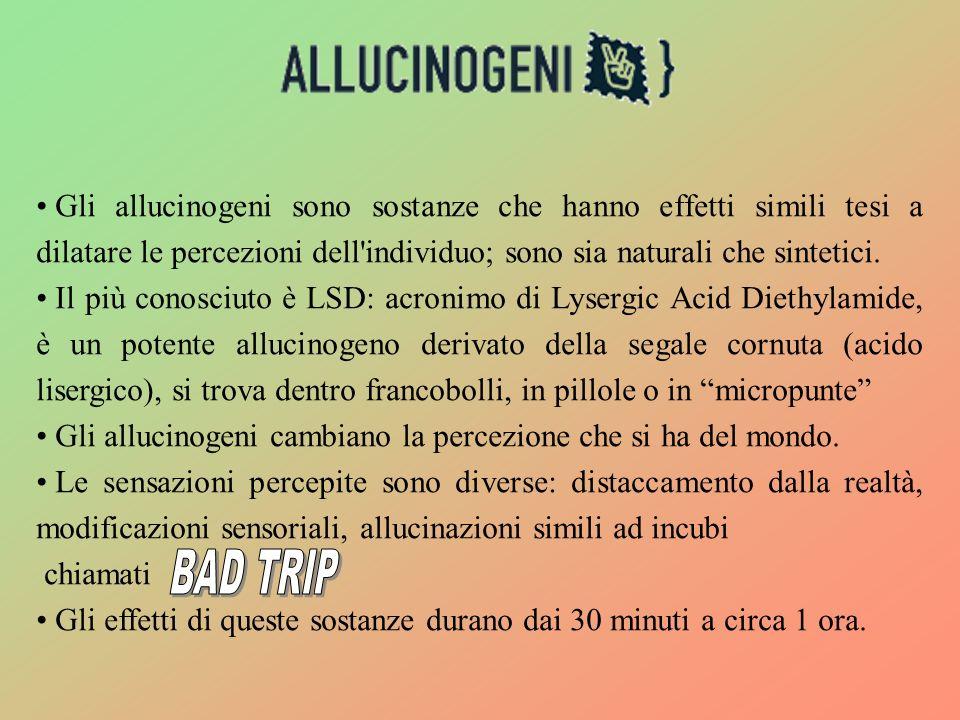 Gli allucinogeni sono sostanze che hanno effetti simili tesi a dilatare le percezioni dell'individuo; sono sia naturali che sintetici. Il più conosciu