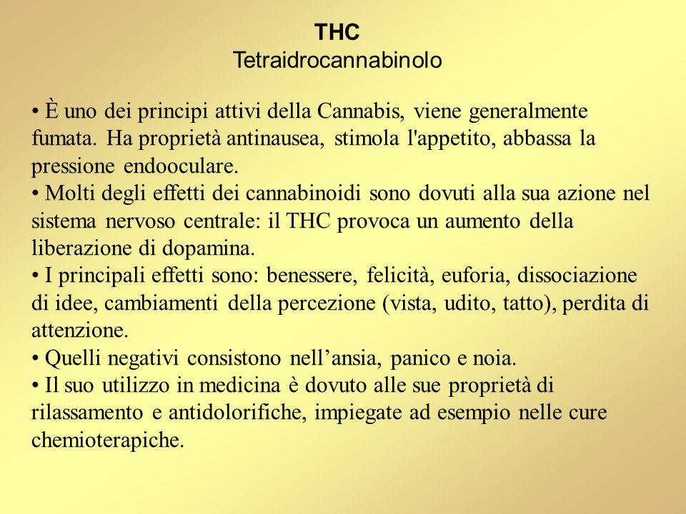 È uno dei principi attivi della Cannabis, viene generalmente fumata. Ha proprietà antinausea, stimola l'appetito, abbassa la pressione endooculare. Mo