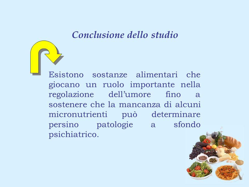 Conclusione dello studio Esistono sostanze alimentari che giocano un ruolo importante nella regolazione dellumore fino a sostenere che la mancanza di