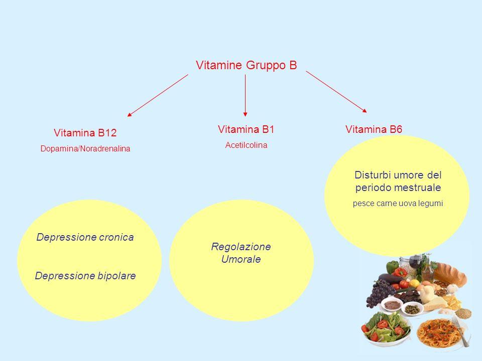 Vitamine Gruppo B Vitamina B12 Dopamina/Noradrenalina Vitamina B1 Acetilcolina Vitamina B6 Depressione cronica Depressione bipolare Regolazione Umorale Disturbi umore del periodo mestruale pesce carne uova legumi