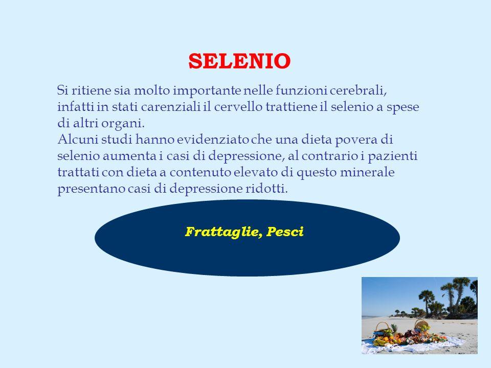 Frattaglie, Pesci SELENIO Si ritiene sia molto importante nelle funzioni cerebrali, infatti in stati carenziali il cervello trattiene il selenio a spese di altri organi.