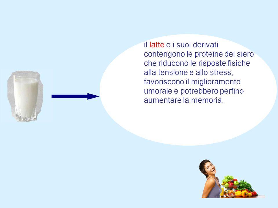 il latte e i suoi derivati contengono le proteine del siero che riducono le risposte fisiche alla tensione e allo stress, favoriscono il miglioramento