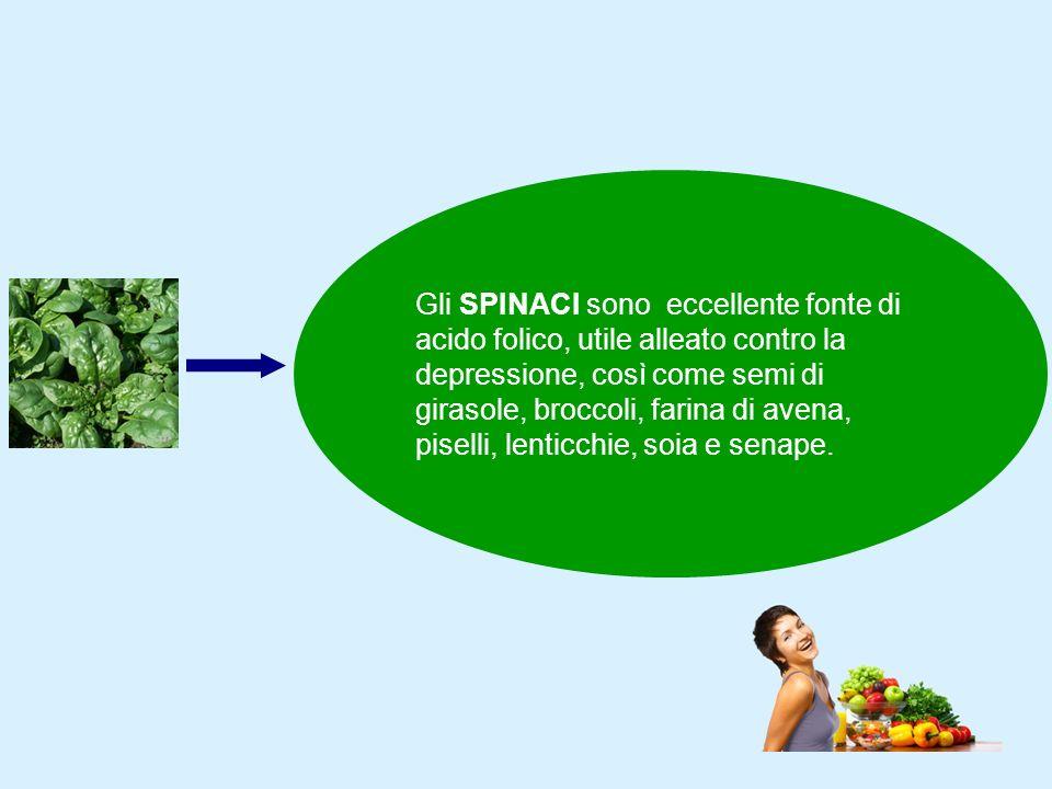 Gli SPINACI sono eccellente fonte di acido folico, utile alleato contro la depressione, così come semi di girasole, broccoli, farina di avena, piselli, lenticchie, soia e senape.