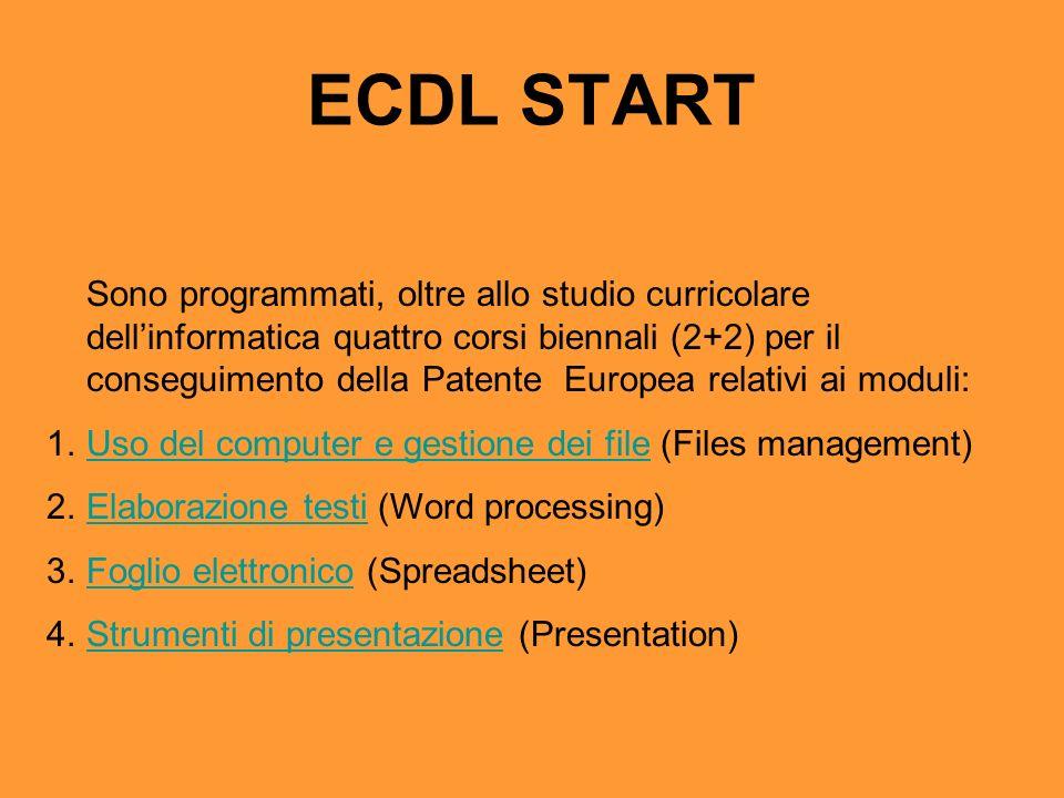 ECDL START Sono programmati, oltre allo studio curricolare dellinformatica quattro corsi biennali (2+2) per il conseguimento della Patente Europea rel