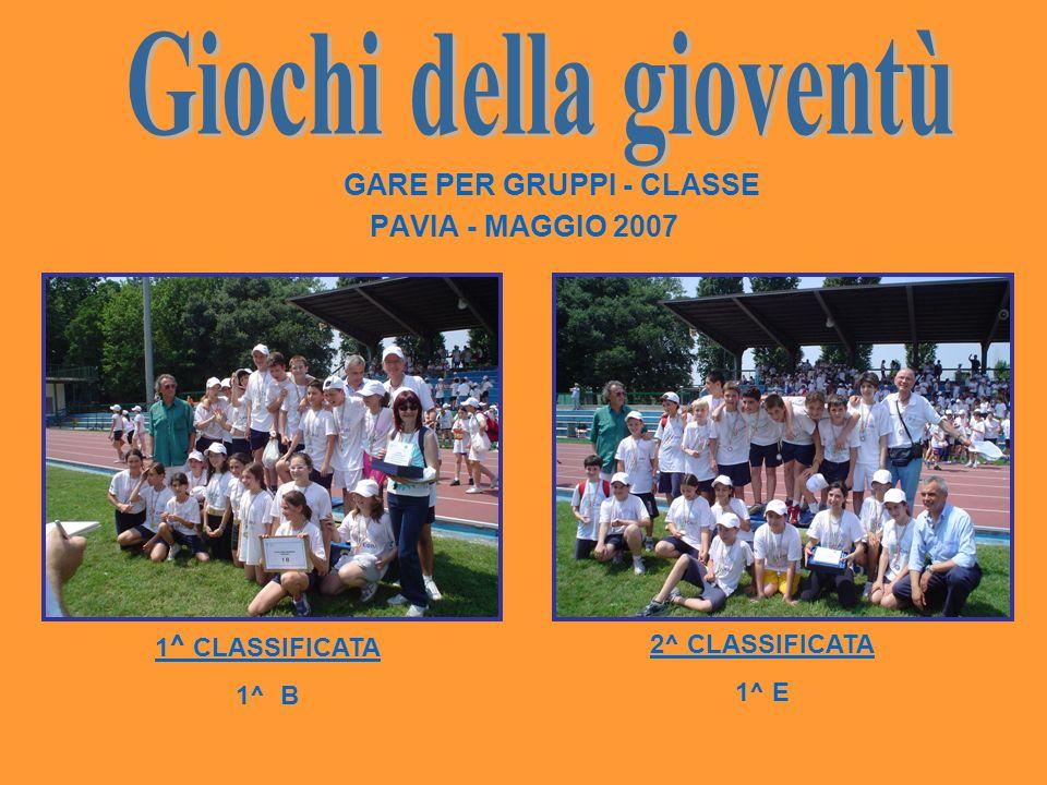 GARE PER GRUPPI - CLASSE PAVIA - MAGGIO 2007 1 ^ CLASSIFICATA 1^ B 2^ CLASSIFICATA 1^ E