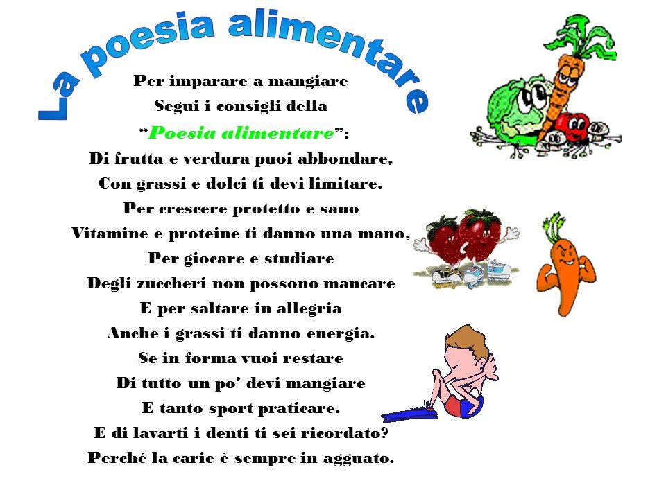 Per imparare a mangiare Segui i consigli della Poesia alimentare : Di frutta e verdura puoi abbondare, Con grassi e dolci ti devi limitare. Per cresce