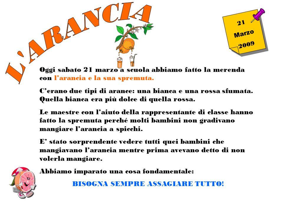 2 1 M a r z o 2 0 0 9 Oggi sabato 21 marzo a scuola abbiamo fatto la merenda con larancia e la sua spremuta. Cerano due tipi di arance: una bianca e u