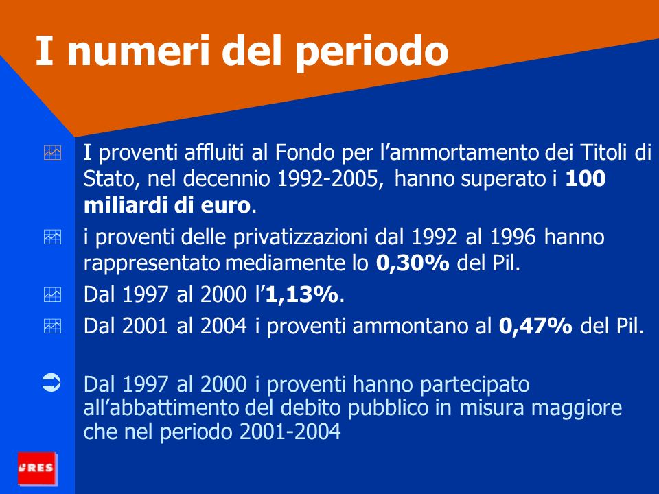 I numeri del periodo I proventi affluiti al Fondo per lammortamento dei Titoli di Stato, nel decennio 1992-2005, hanno superato i 100 miliardi di euro.