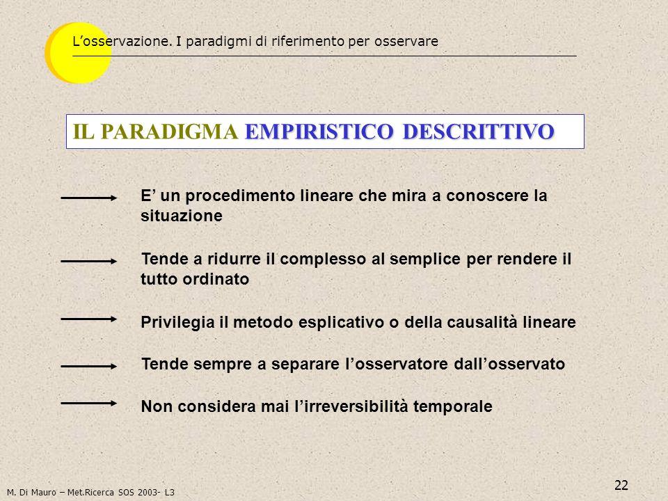 22 EMPIRISTICO DESCRITTIVO IL PARADIGMA EMPIRISTICO DESCRITTIVO Losservazione. I paradigmi di riferimento per osservare E un procedimento lineare che