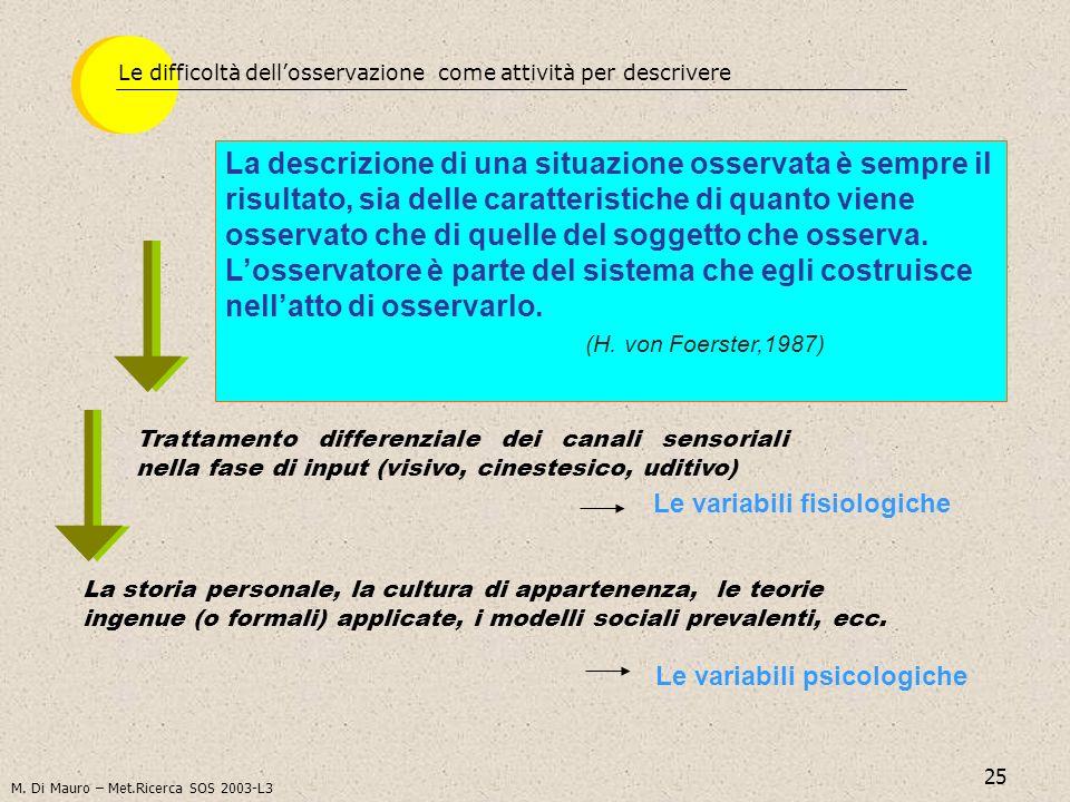 25 Le variabili fisiologiche Le difficoltà dellosservazione come attività per descrivere La descrizione di una situazione osservata è sempre il risult