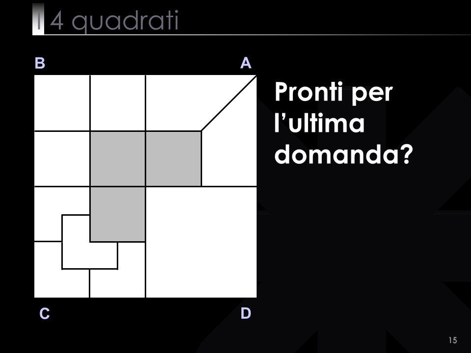 15 B A D C Pronti per lultima domanda? I 4 quadrati