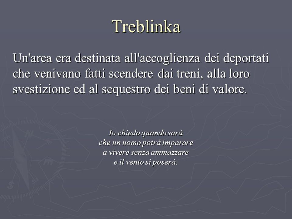 Treblinka Un area era destinata all accoglienza dei deportati che venivano fatti scendere dai treni, alla loro svestizione ed al sequestro dei beni di valore.