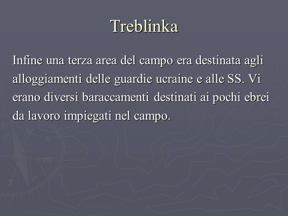 Treblinka Infine una terza area del campo era destinata agli alloggiamenti delle guardie ucraine e alle SS.