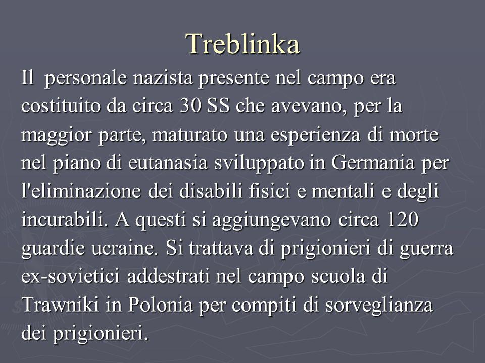 Treblinka Il personale nazista presente nel campo era costituito da circa 30 SS che avevano, per la maggior parte, maturato una esperienza di morte nel piano di eutanasia sviluppato in Germania per l eliminazione dei disabili fisici e mentali e degli incurabili.