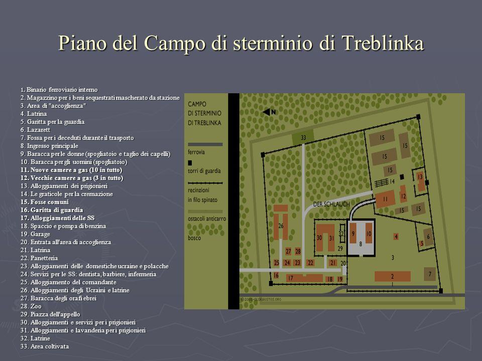 Piano del Campo di sterminio di Treblinka 1. Binario ferroviario interno 2.