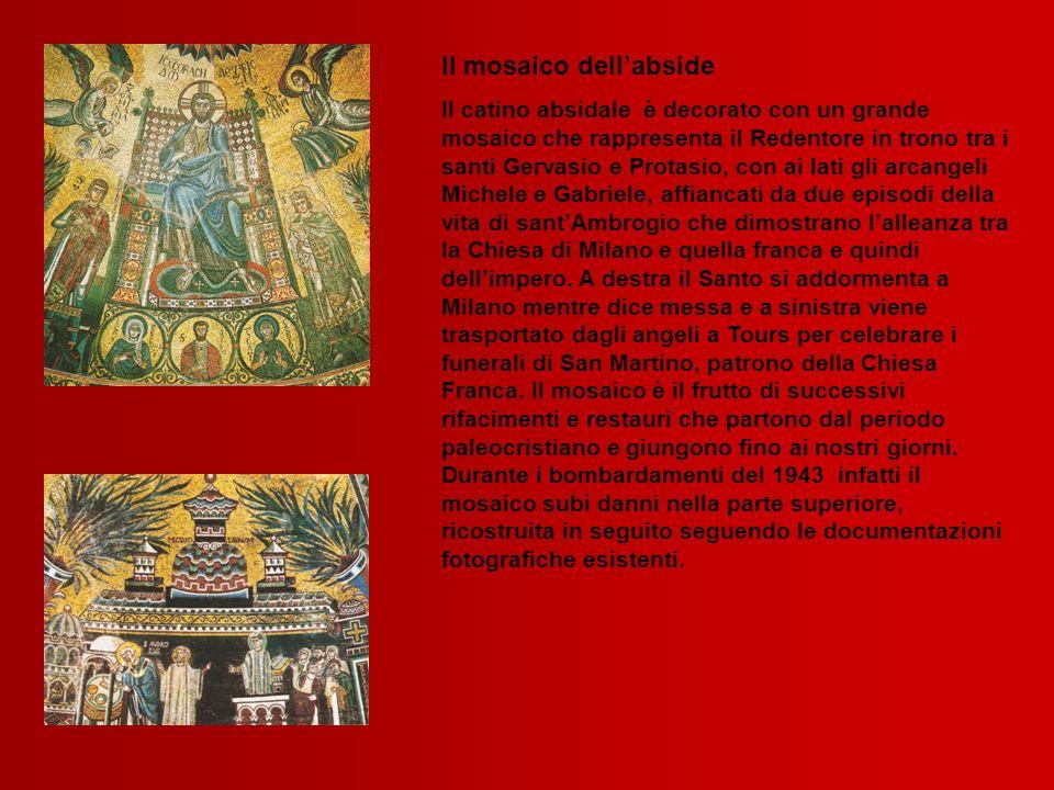 Il mosaico dellabside Il catino absidale è decorato con un grande mosaico che rappresenta il Redentore in trono tra i santi Gervasio e Protasio, con a