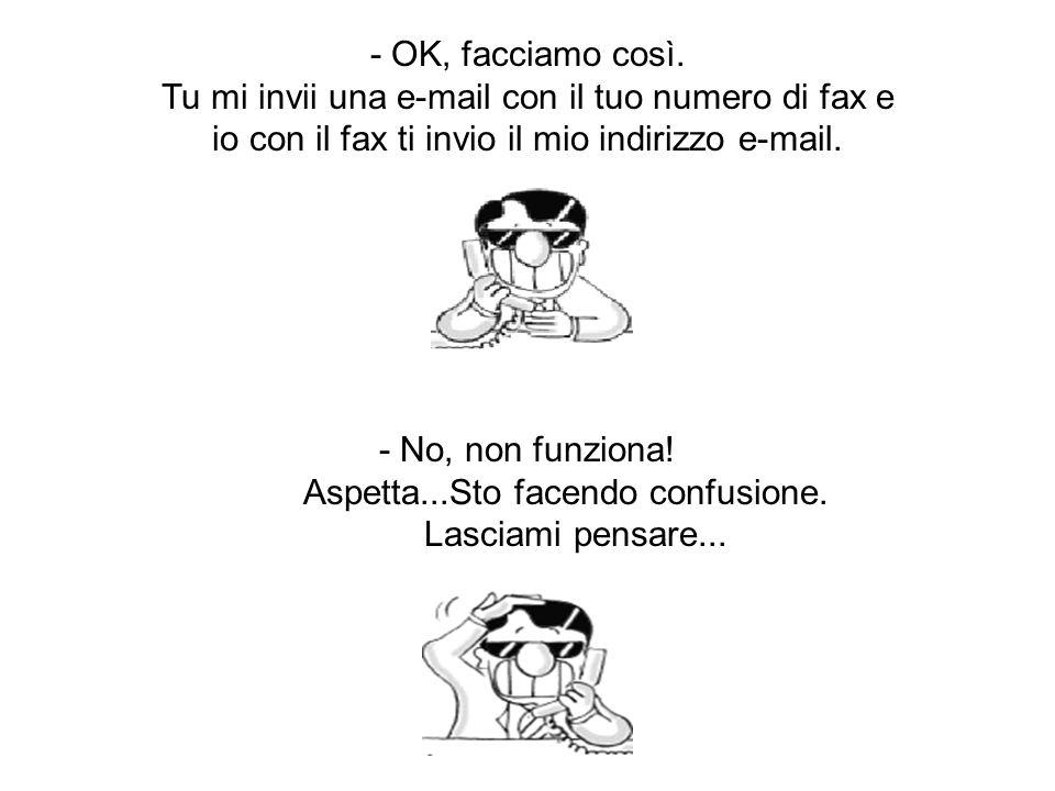 OK. Dammi il tuo numero di fax. - Cosa ! Non lo sai?
