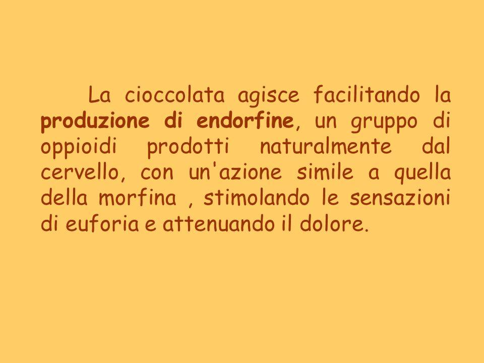 La cioccolata agisce facilitando la produzione di endorfine, un gruppo di oppioidi prodotti naturalmente dal cervello, con un'azione simile a quella d