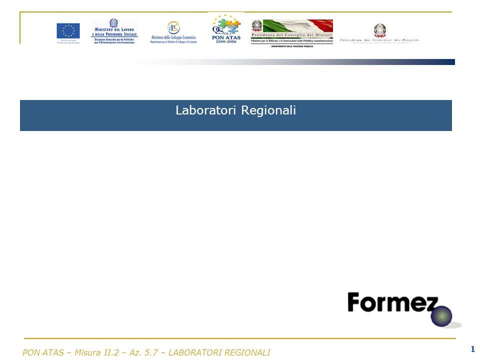 PON ATAS – Misura II.2 – Az. 5.7 – LABORATORI REGIONALI 1 Laboratori Regionali