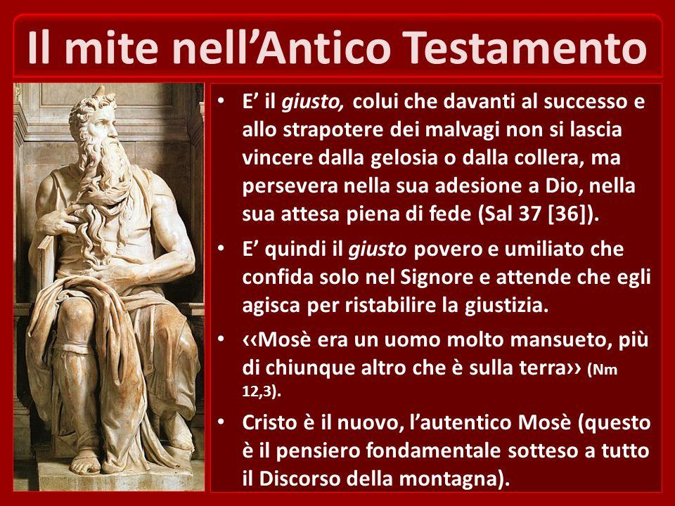 La mitezza è uno specifico di Gesù Infatti per definire se stesso Gesù ha usato gli aggettivi mite e umile di cuore (Mt 11,29). Ne consegue che la mit