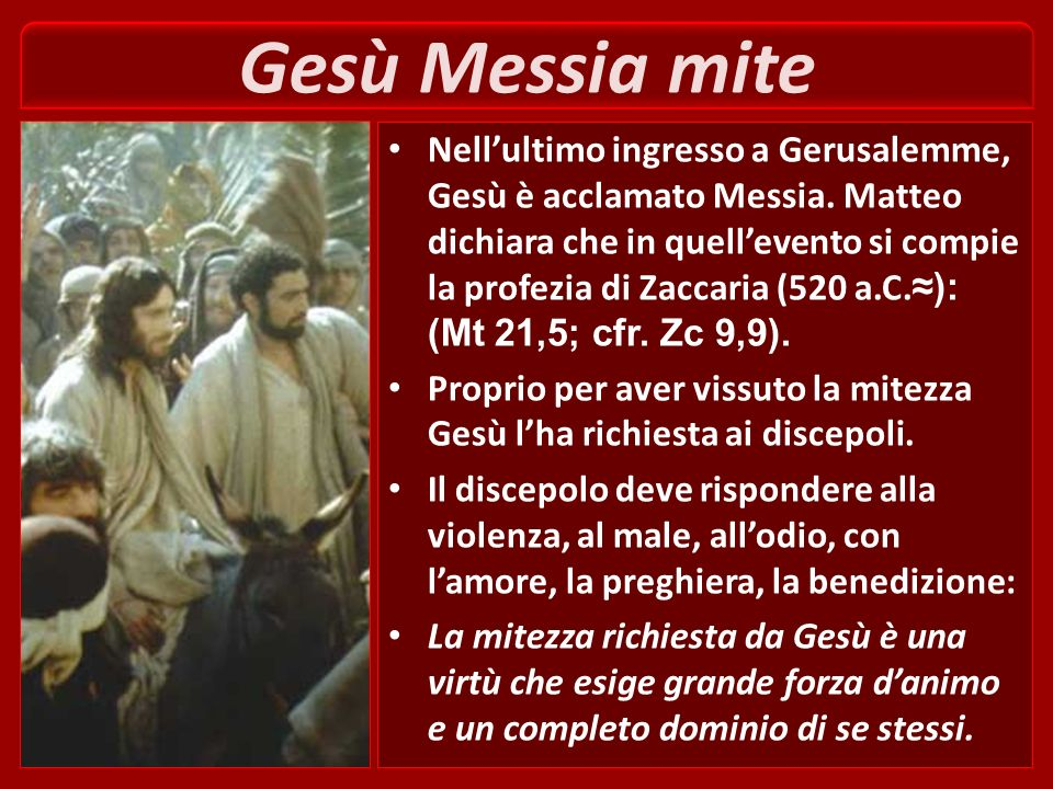 Gesù è un rabbi mite e umile di cuore uno solo è il vostro maestro, il Cristo (Mt 23,10). Egli è mite e paziente con tutti. È rispettoso di chi gli st