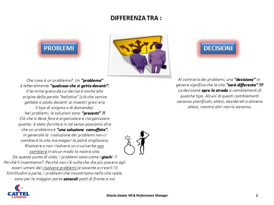2 DIFFERENZA TRA : PROBLEMIPROBLEMIDECISIONIDECISIONI problema Che cosa è un problema? Un problema qualcosa che si getta davanti. è letteralmente qual