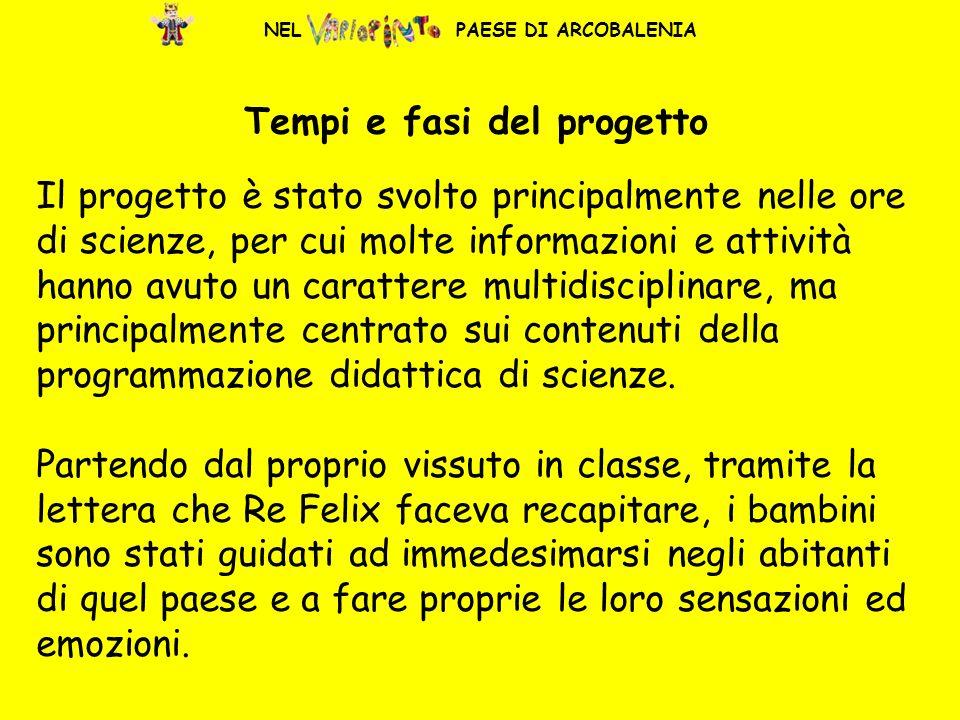 NEL PAESE DI ARCOBALENIA Tempi e fasi del progetto Il progetto è stato svolto principalmente nelle ore di scienze, per cui molte informazioni e attivi