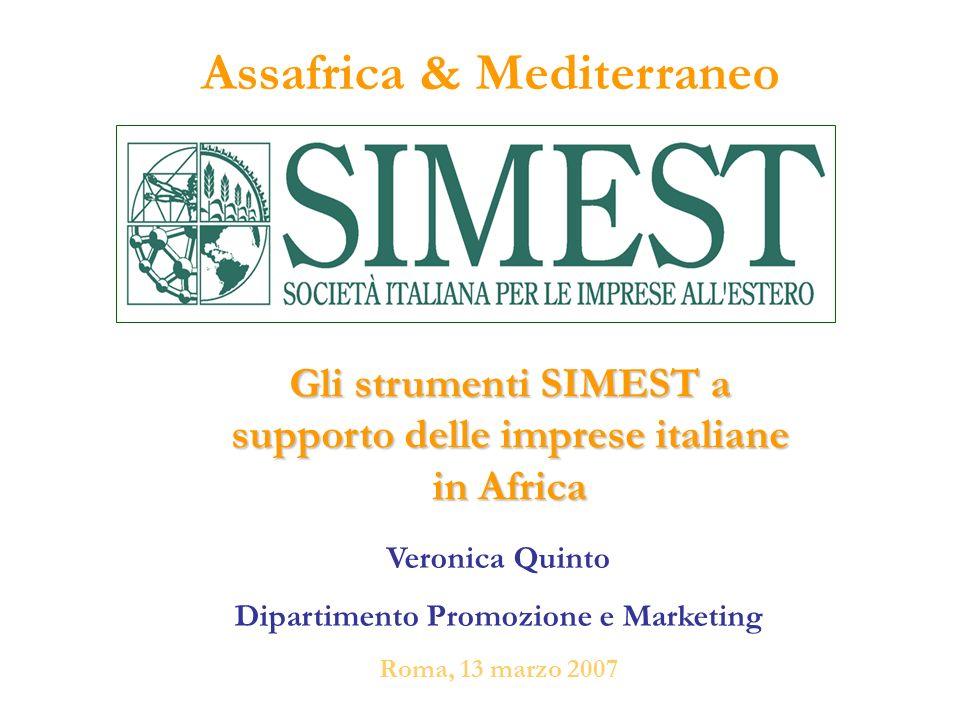 Assafrica & Mediterraneo Veronica Quinto Dipartimento Promozione e Marketing Roma, 13 marzo 2007 Gli strumenti SIMEST a supporto delle imprese italian