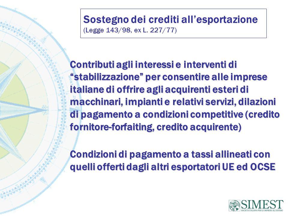 Sostegno dei crediti allesportazione (Legge 143/98, ex L. 227/77) Contributi agli interessi e interventi di stabilizzazione per consentire alle impres