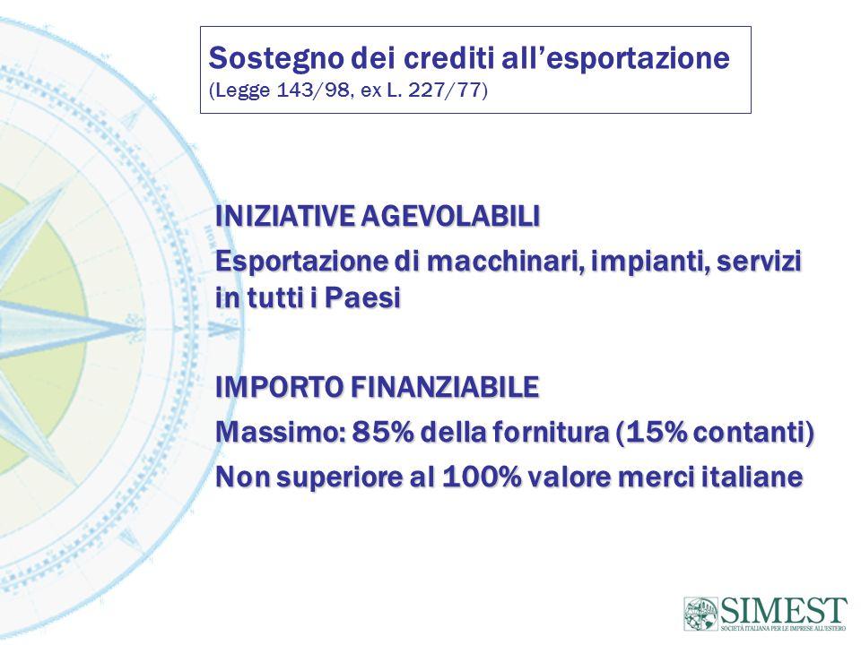 Sostegno dei crediti allesportazione (Legge 143/98, ex L. 227/77) INIZIATIVE AGEVOLABILI Esportazione di macchinari, impianti, servizi in tutti i Paes