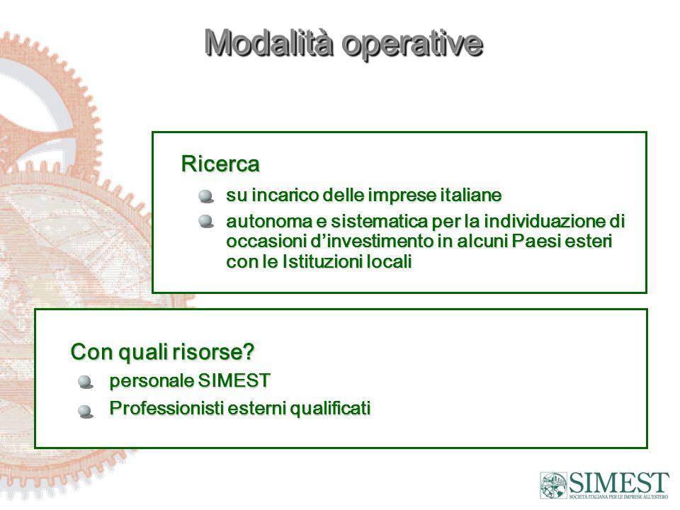 Modalità operative Ricerca su incarico delle imprese italiane autonoma e sistematica per la individuazione di occasioni dinvestimento in alcuni Paesi esteri con le Istituzioni locali Con quali risorse.