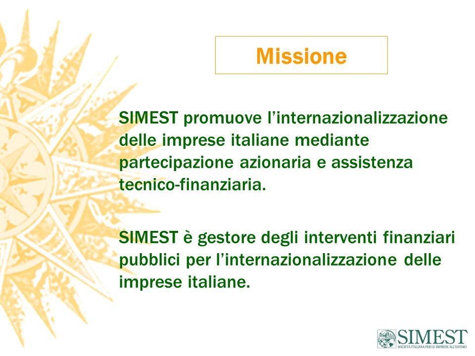 Missione SIMEST promuove linternazionalizzazione delle imprese italiane mediante partecipazione azionaria e assistenza tecnico-finanziaria. SIMEST è g