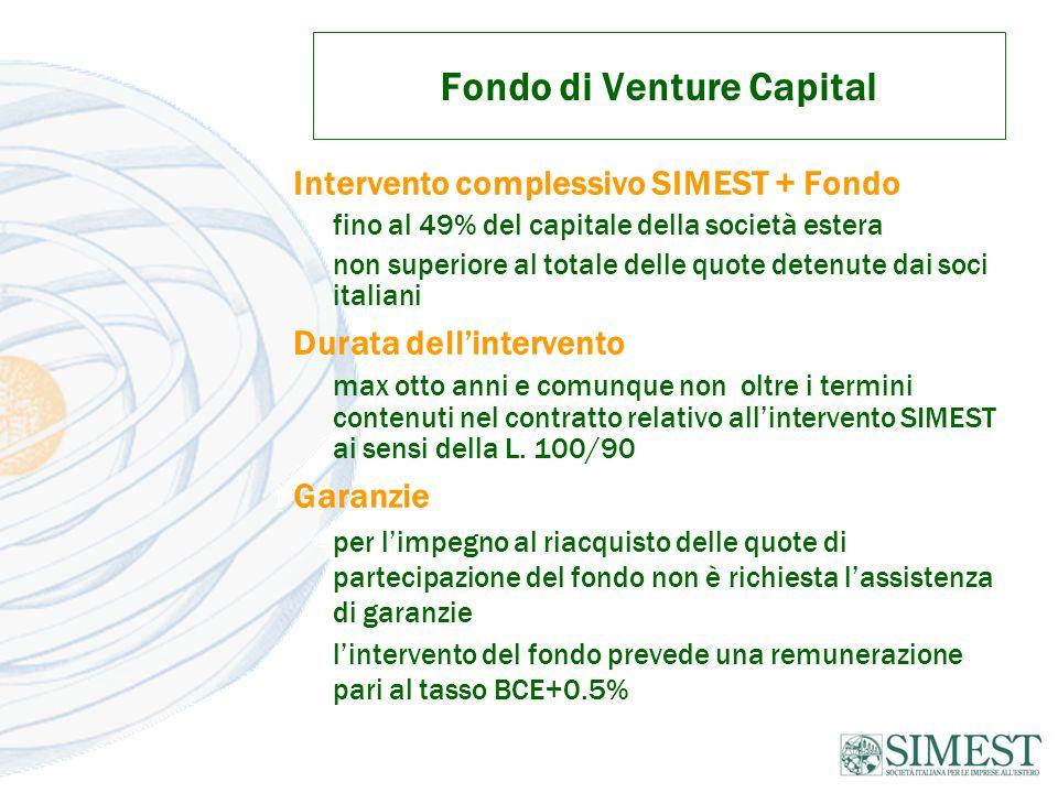 Fondo di Venture Capital Intervento complessivo SIMEST + Fondo fino al 49% del capitale della società estera non superiore al totale delle quote deten