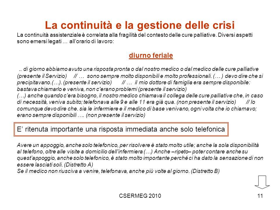 CSERMEG 201011 La continuità e la gestione delle crisi La continuità assistenziale è correlata alla fragilità del contesto delle cure palliative.
