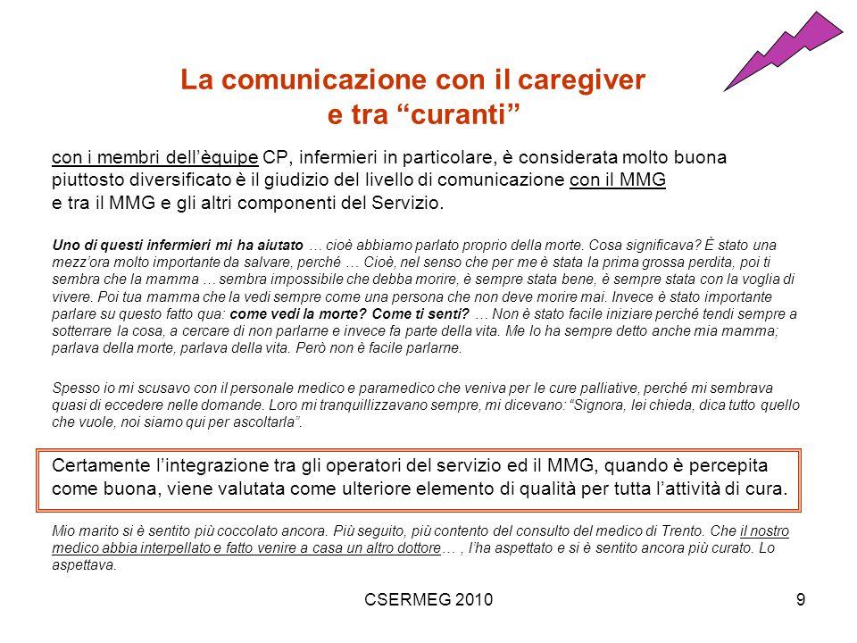 CSERMEG 20109 La comunicazione con il caregiver e tra curanti con i membri dellèquipe CP, infermieri in particolare, è considerata molto buona piuttosto diversificato è il giudizio del livello di comunicazione con il MMG e tra il MMG e gli altri componenti del Servizio.